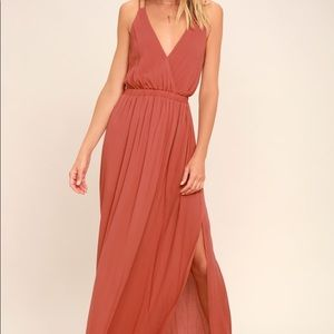Lulu's Dusty Rose Maxi Dress